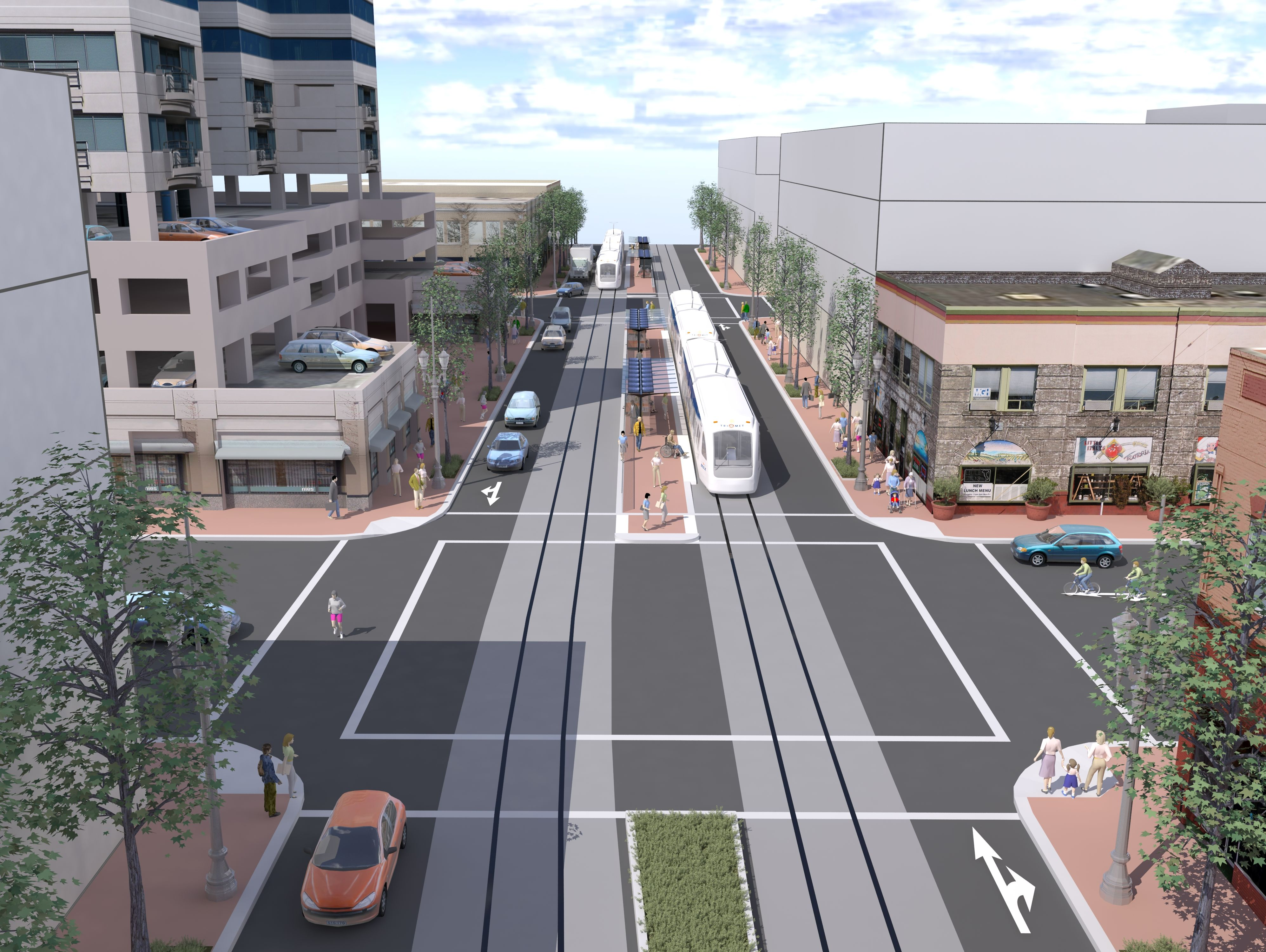 A rendering of one of the light rail designs associated