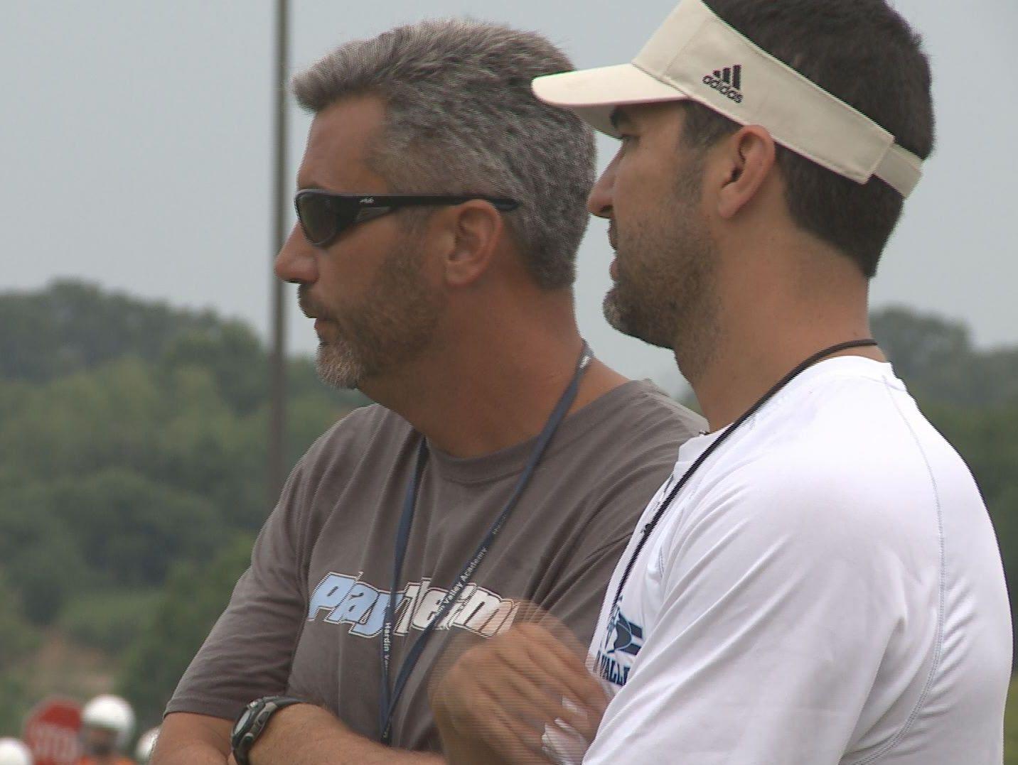 Hardin Valley head coach Wes Jones looks on as his team practices.