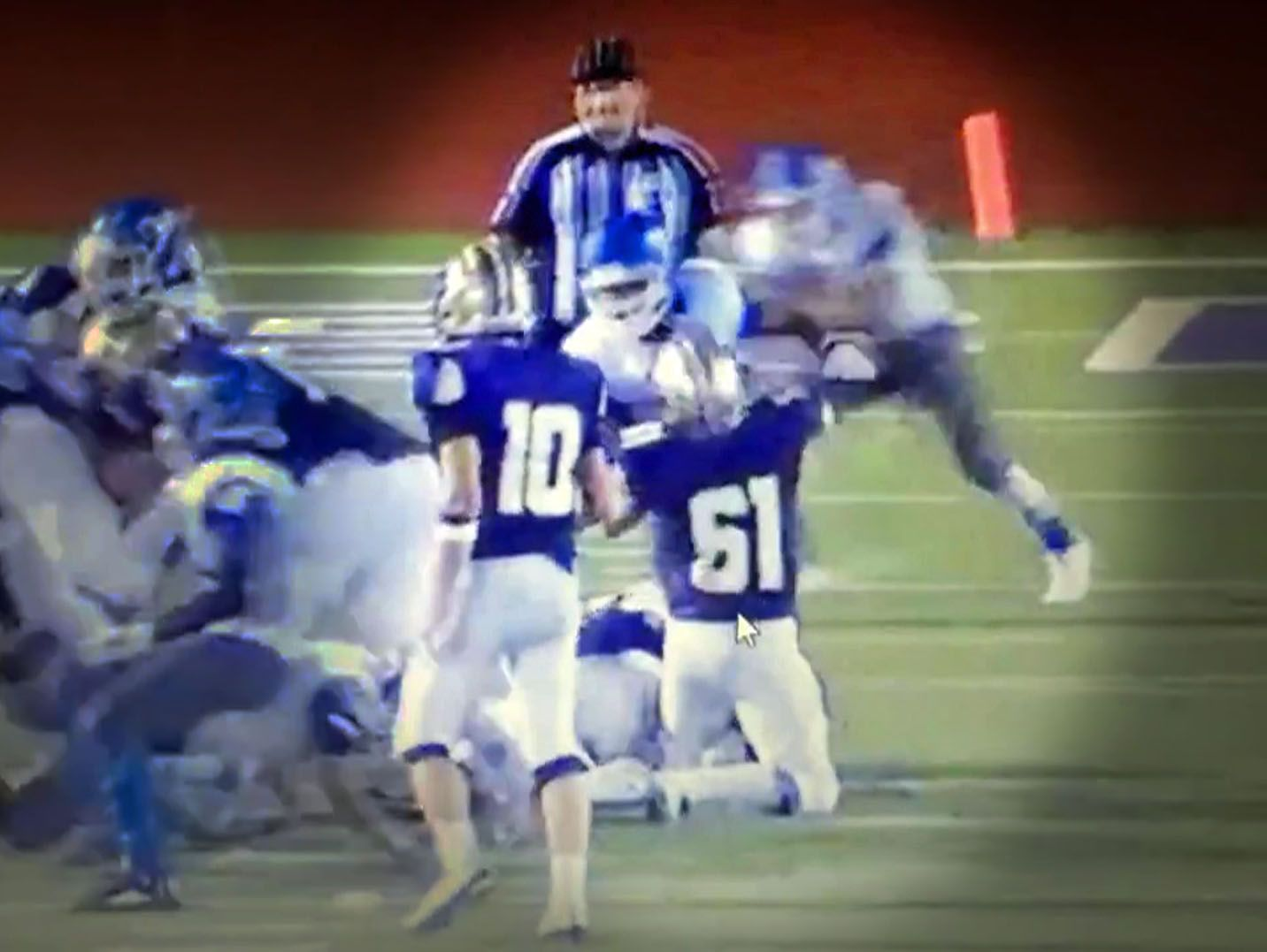A video clip posted on YouTube by Greg Gibson appears to show a referee being targeted by a player at the game between John Jay and Marble Falls high schools on September 4, 2015.