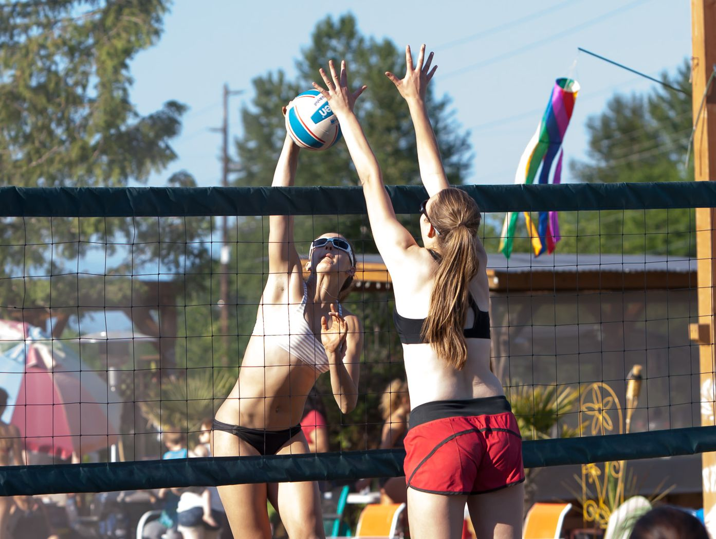 Garfield outside hitter Deahna Kraft (left) during a 2015 sand tournament at Bottega Fitness Park in Snohomish.