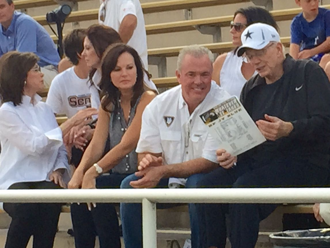 Dallas Cowboys owner Jerry Jones and son Stephen take in #txhsfb to watch John Stephen Jones at Highland Park.