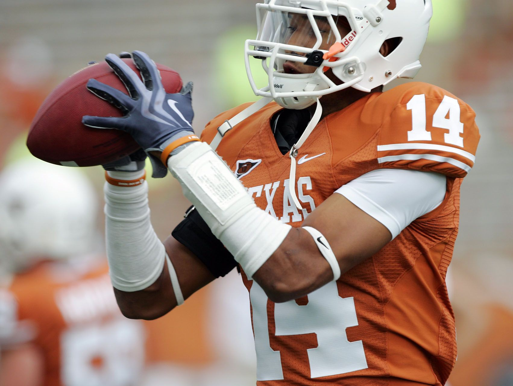 Defensive back Eryon Barnett of the Texas Longhorns catches the ball during warm-up prior to their game against the Louisiana Monroe Warhawks on September 5, 2009 in Austin.