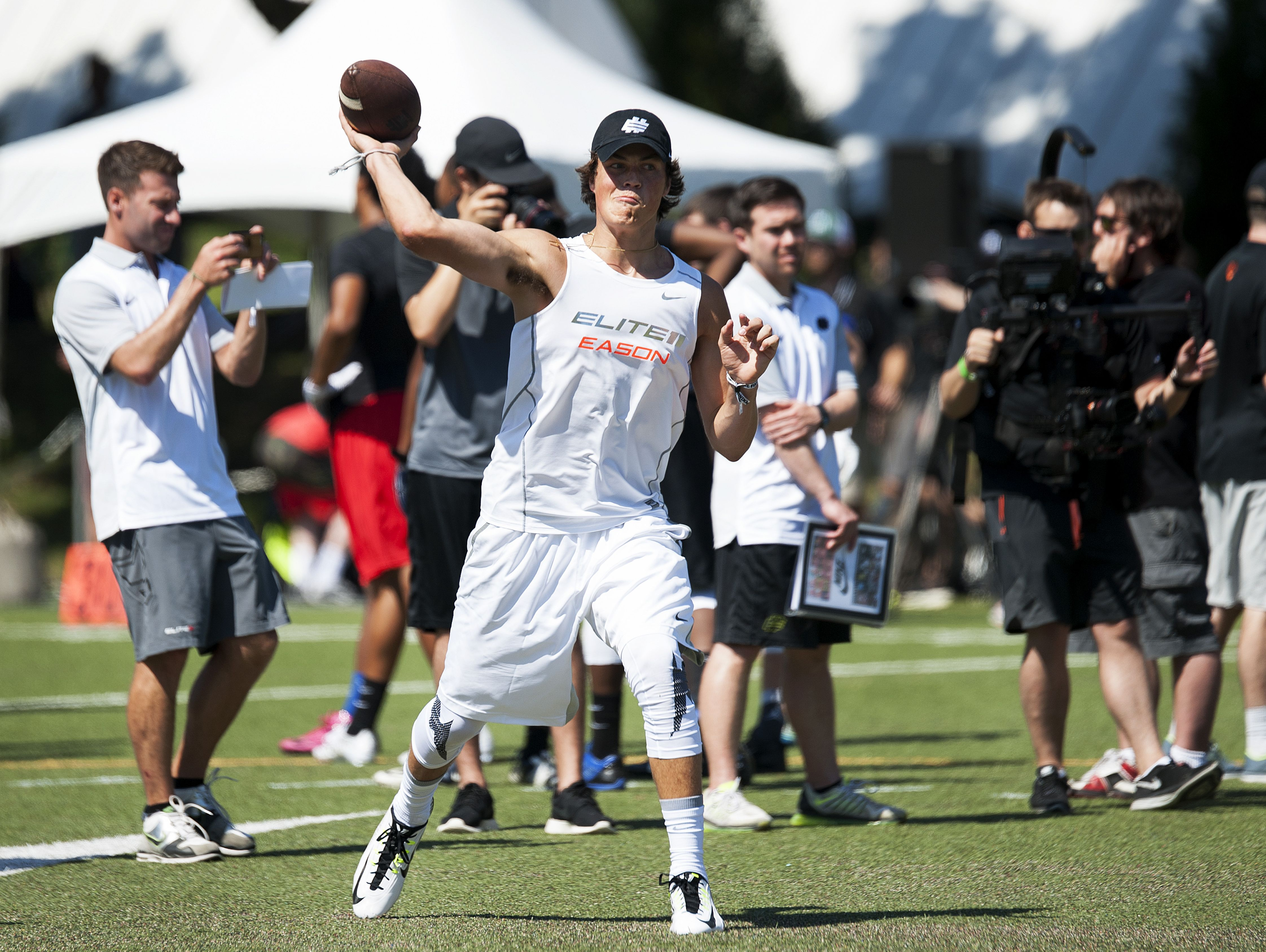 Lake Stevens quarterback Jacob Eason throws the ball during the Elite 11 football camp for high school football players.