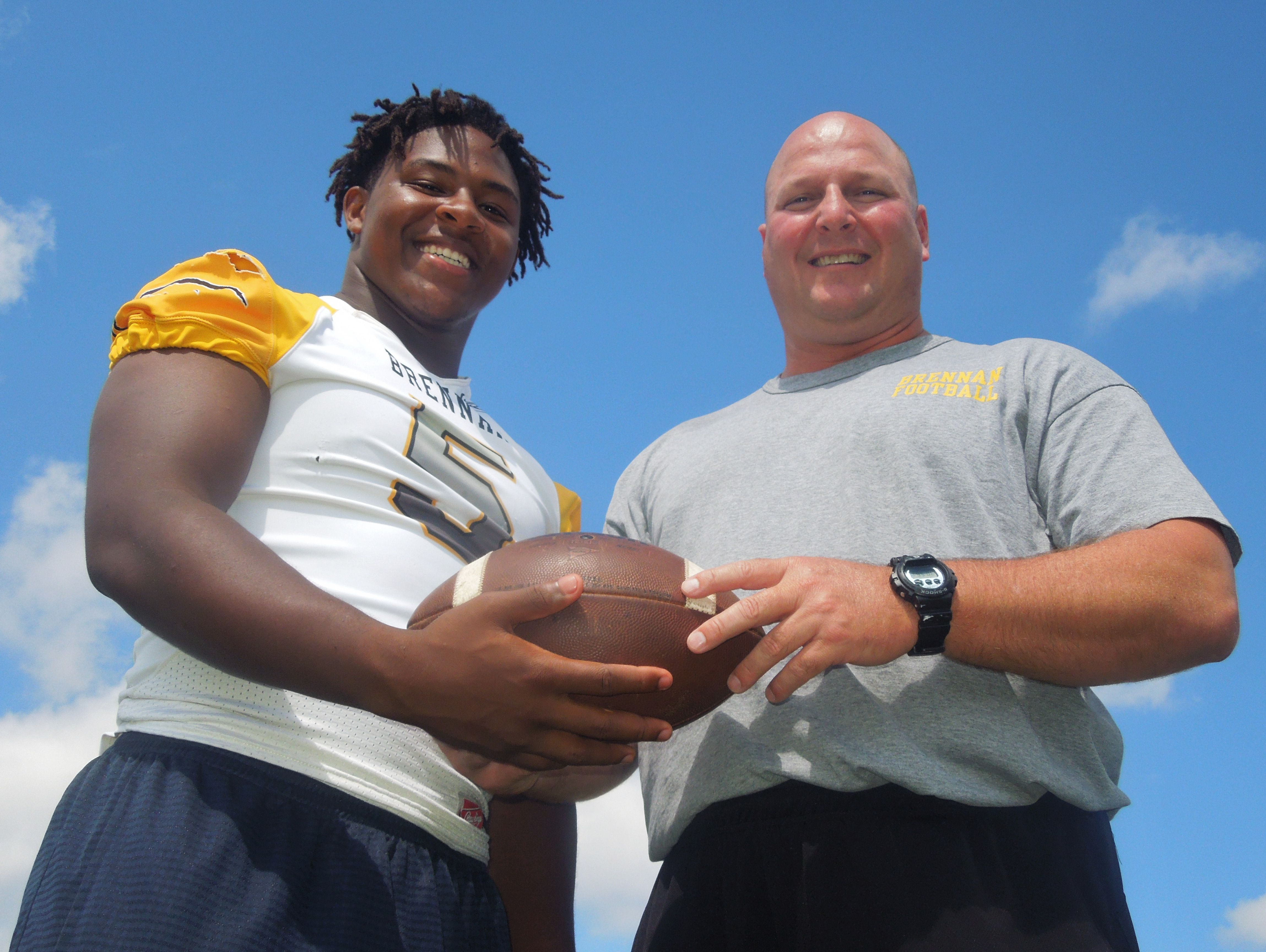 Brennan head coach Stephen Basore says that senior middle linebacker D.J. Allen has a good combination of strength, speed and quickness.