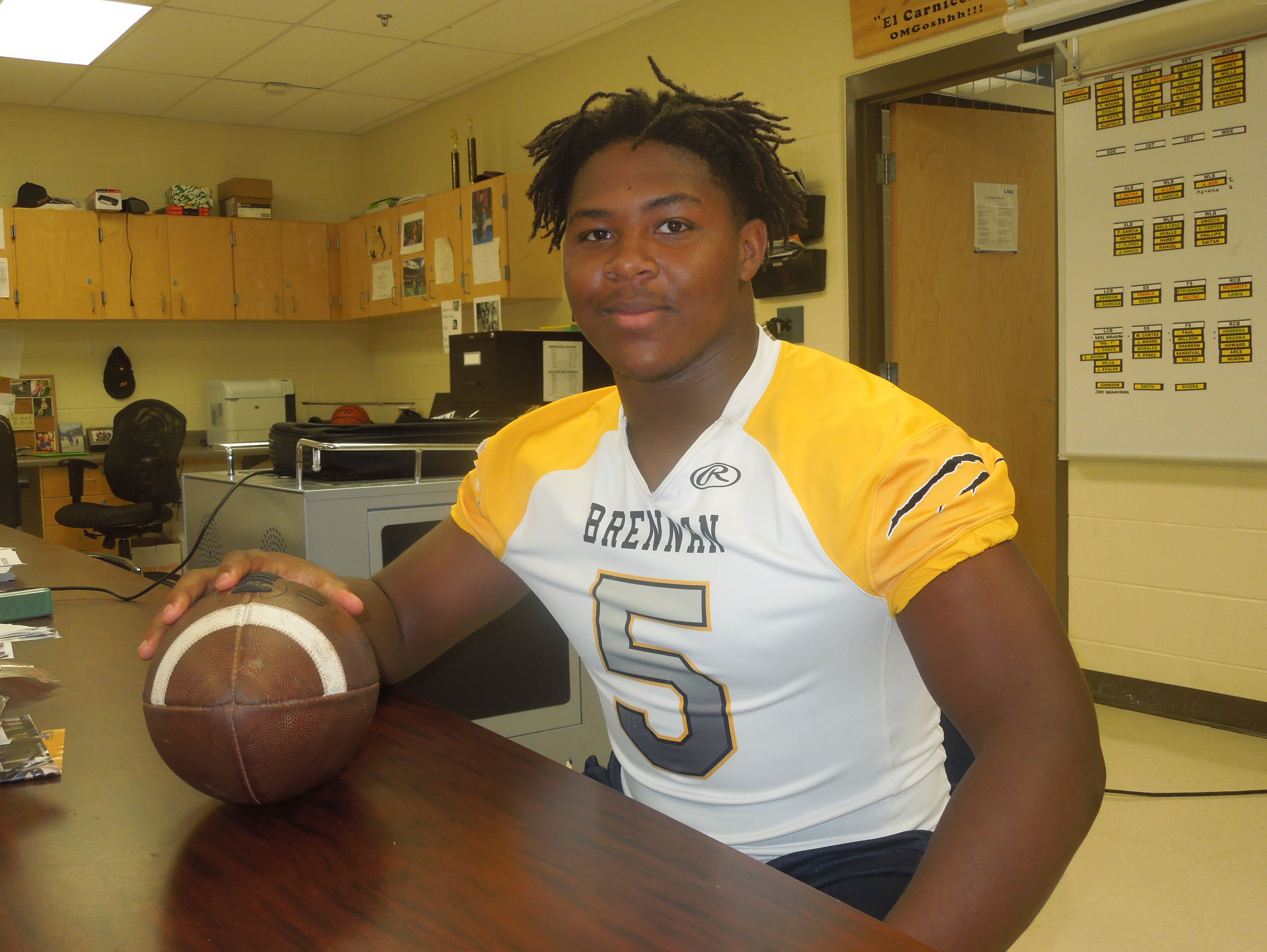 Brennan senior middle linebacker D.J. Allen has started on defenses that have recorded 13 shutouts in 28 games the past two seasons.