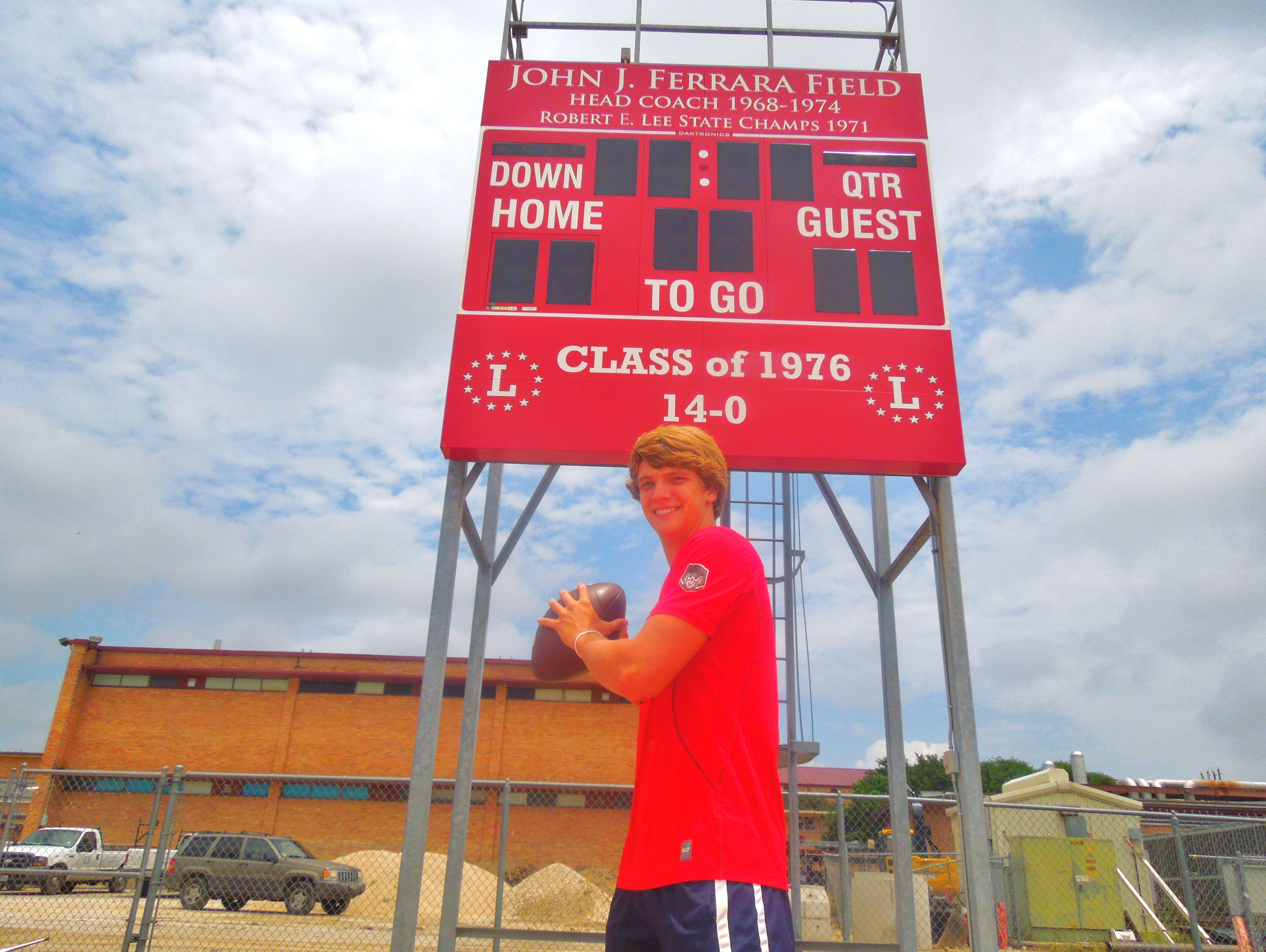 Lee quarterback Kyle Fuller, standing in front of the scoreboard at Ferrara Field, has been one of the most prolific passers in the area the past two seasons.
