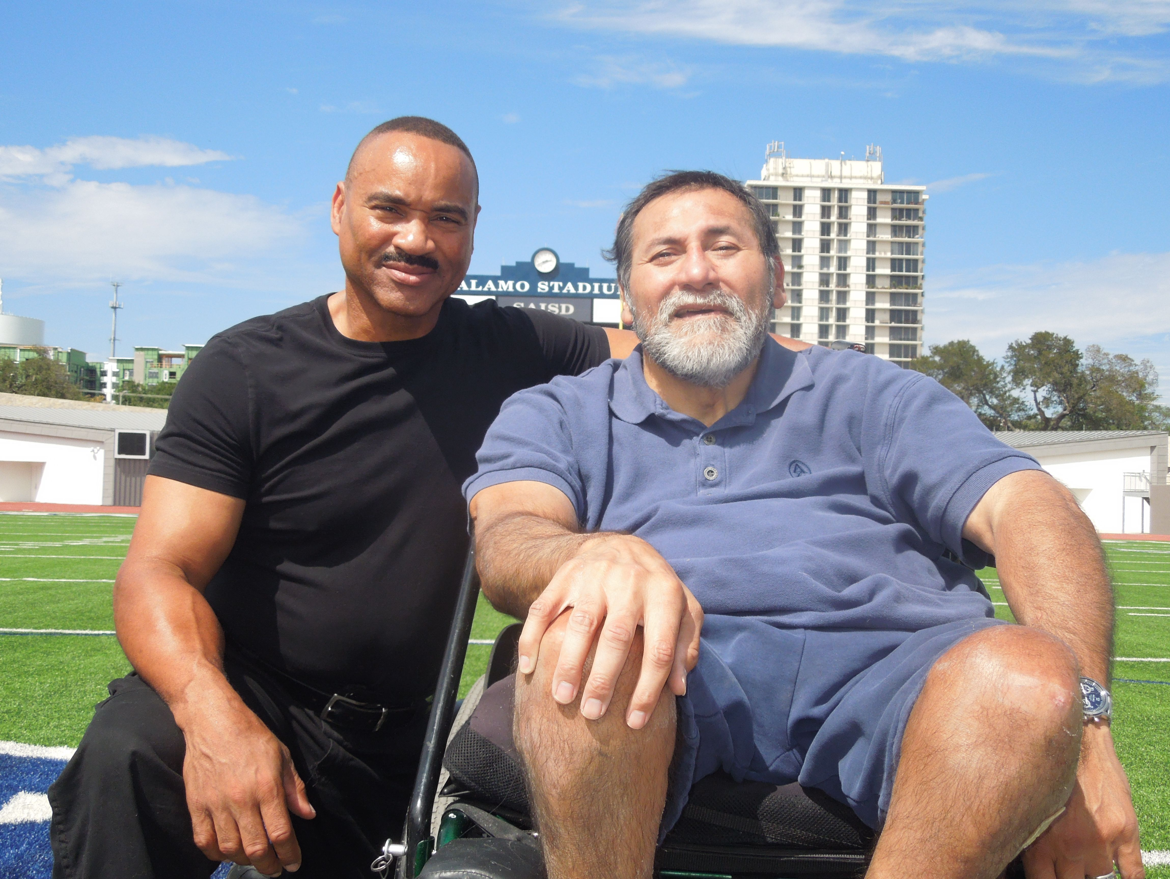 Jefferson graduate Gabe Rivera, right, pictured with Sam Houston alum Gary Green, was an All-America defensive lineman at Texas Tech before being picked in the first round of the NFL draft by the Pittsburgh Steelers in 1983.