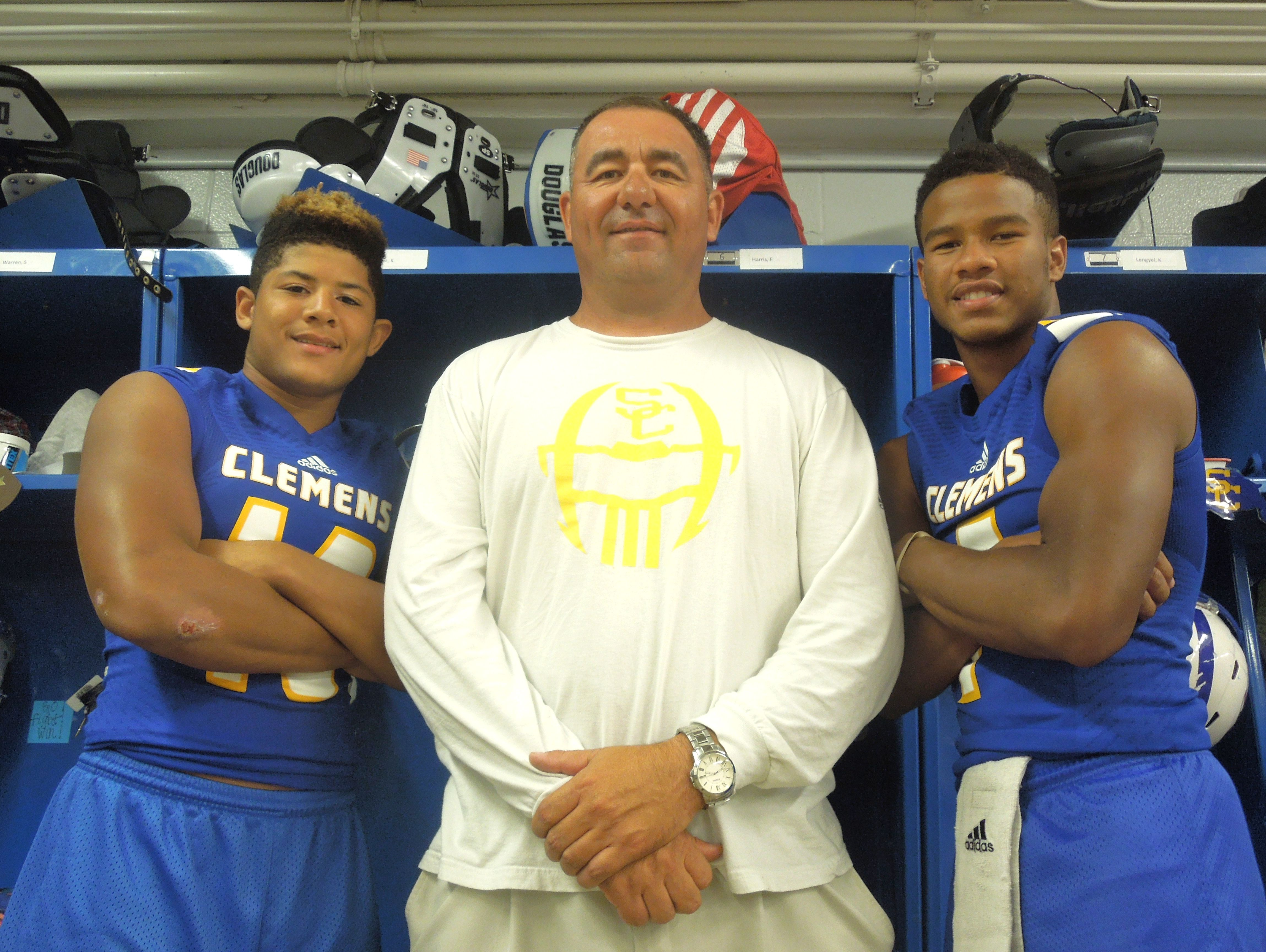 Clemens coach Jared Johnston has relied on senior safety Mark Westbrook, left, and prolific junior quarterback Frank Harris to lead the Buffaloes this season.