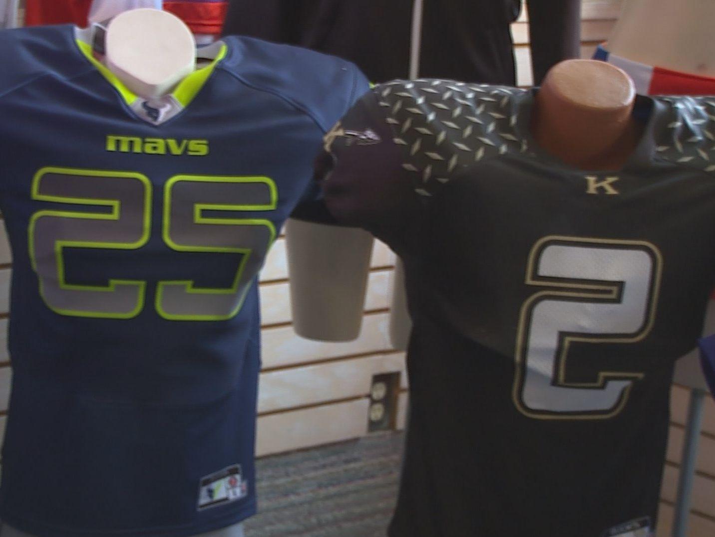 Mountain View Mavericks and Kuna Kavemen football jerseys.