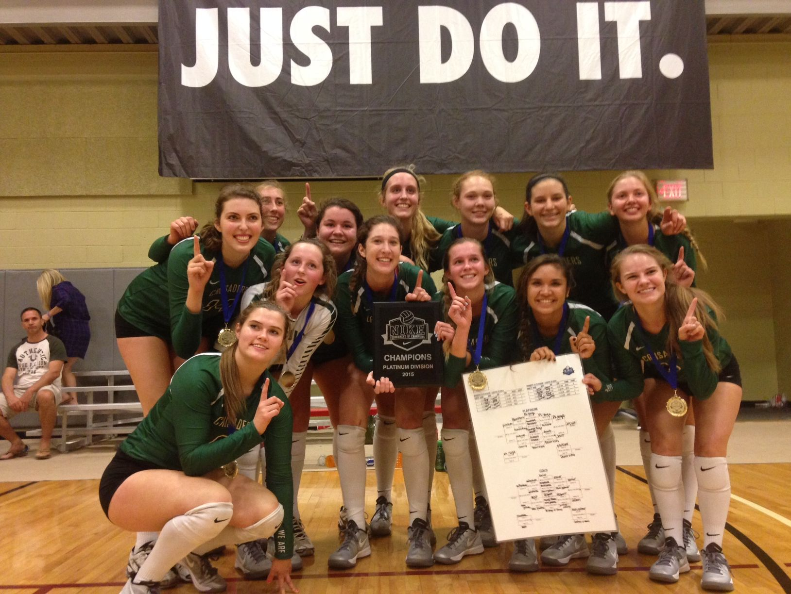 The 2015 Jesuit Varsity Volleyball team after winning the Nike Tournament of Champions in Arizona.