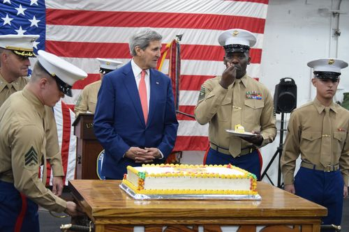 Kerry celebrates Marine Corps birthday aboard Navy ship