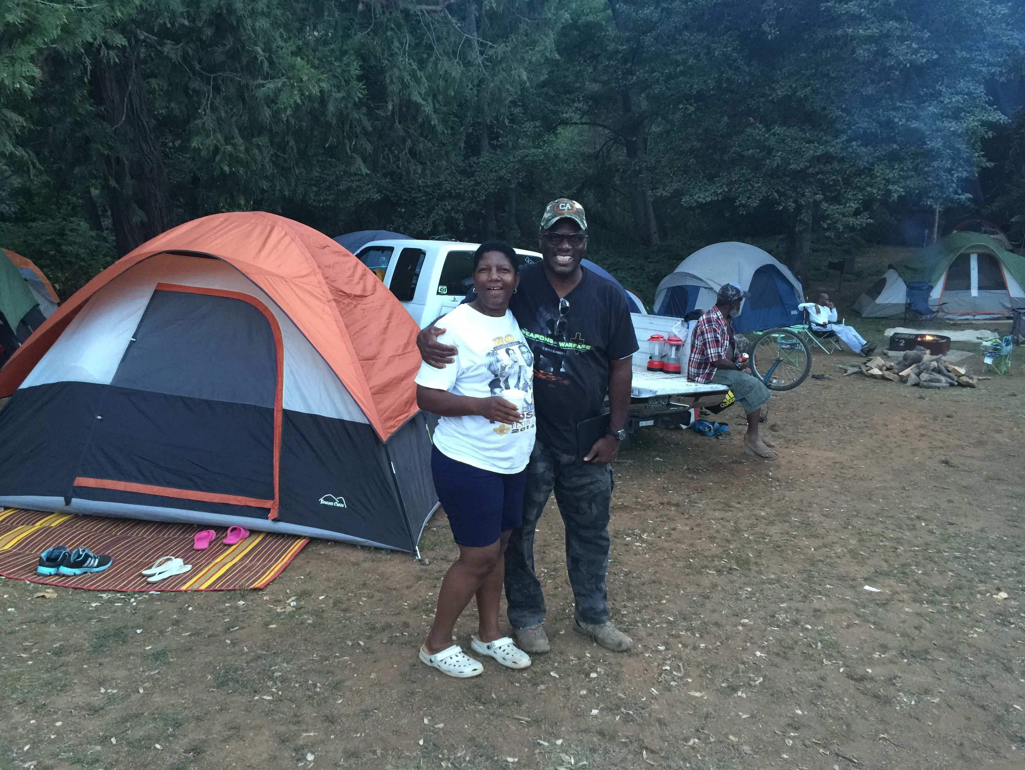 Members of a family gathering at Greenhorn Campground
