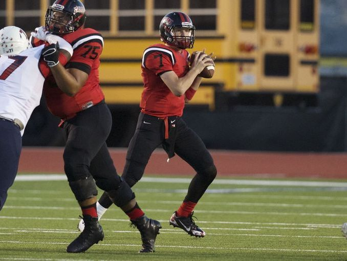 Stevens junior quarterback Bryce Rivers, looking for a receiver in last month's game against Roosevelt, has thrown for 1,800 yards and 17 TDs this season.