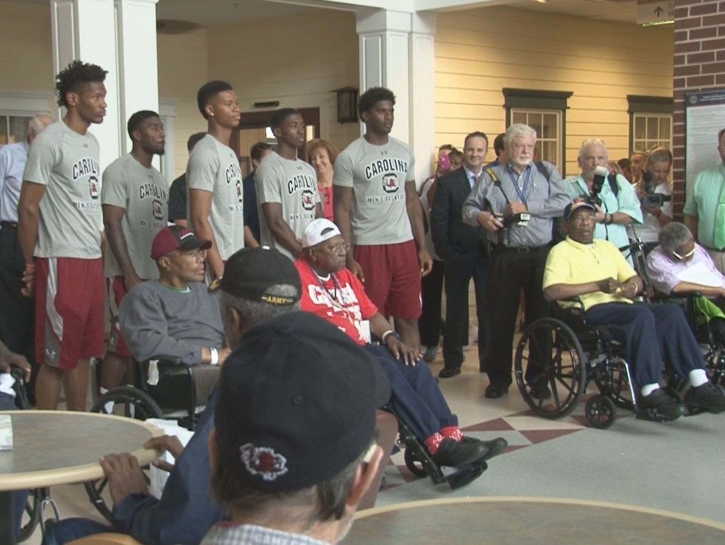 """The Dorn VA Medical Center is where members of the USC basketball team were Tuesday as part of the """"8K in 8 Days"""" campaign."""