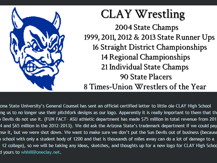 The post on Clay Wrestling's website