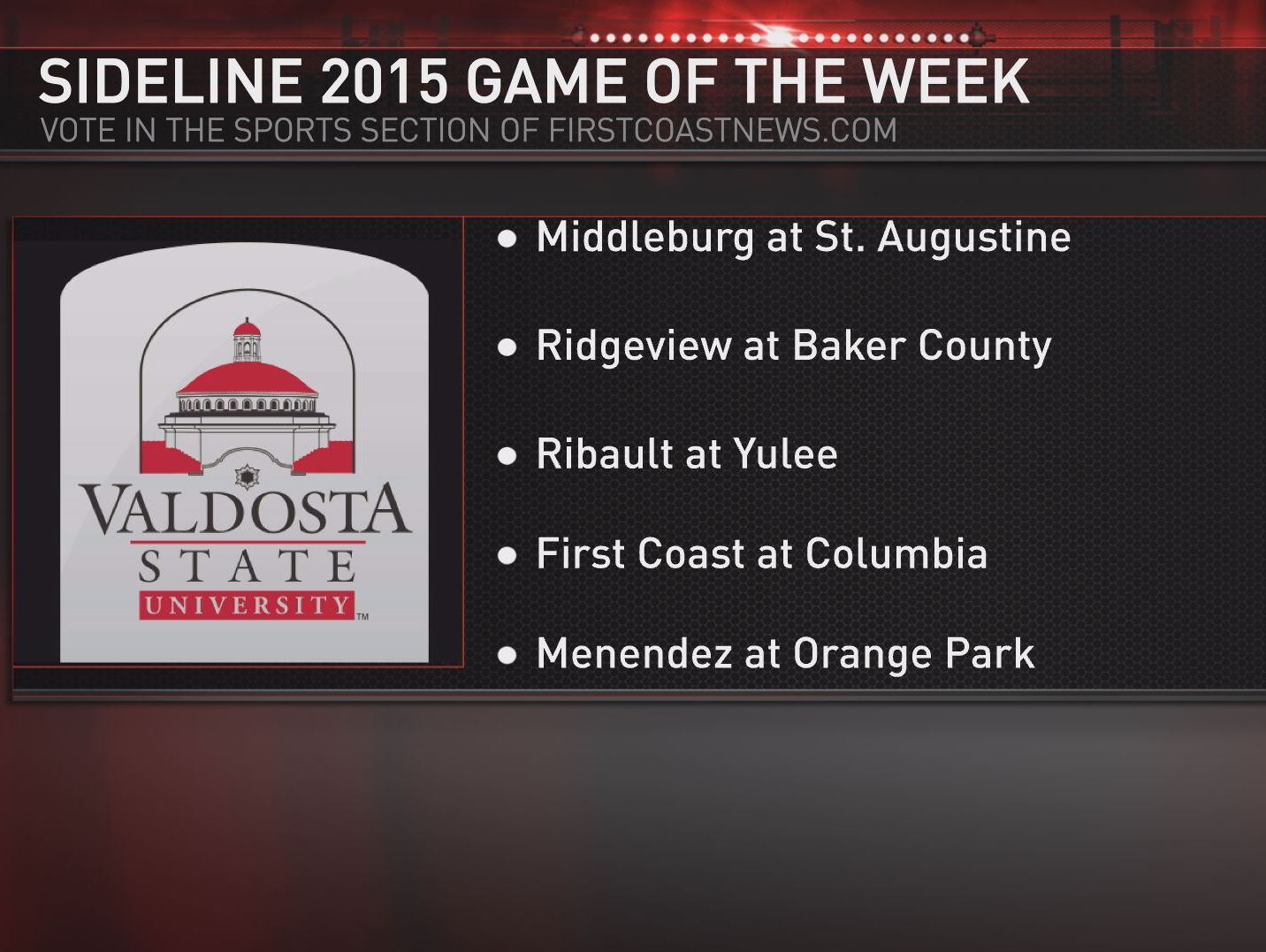 Sideline 2015 Game of the Week choices