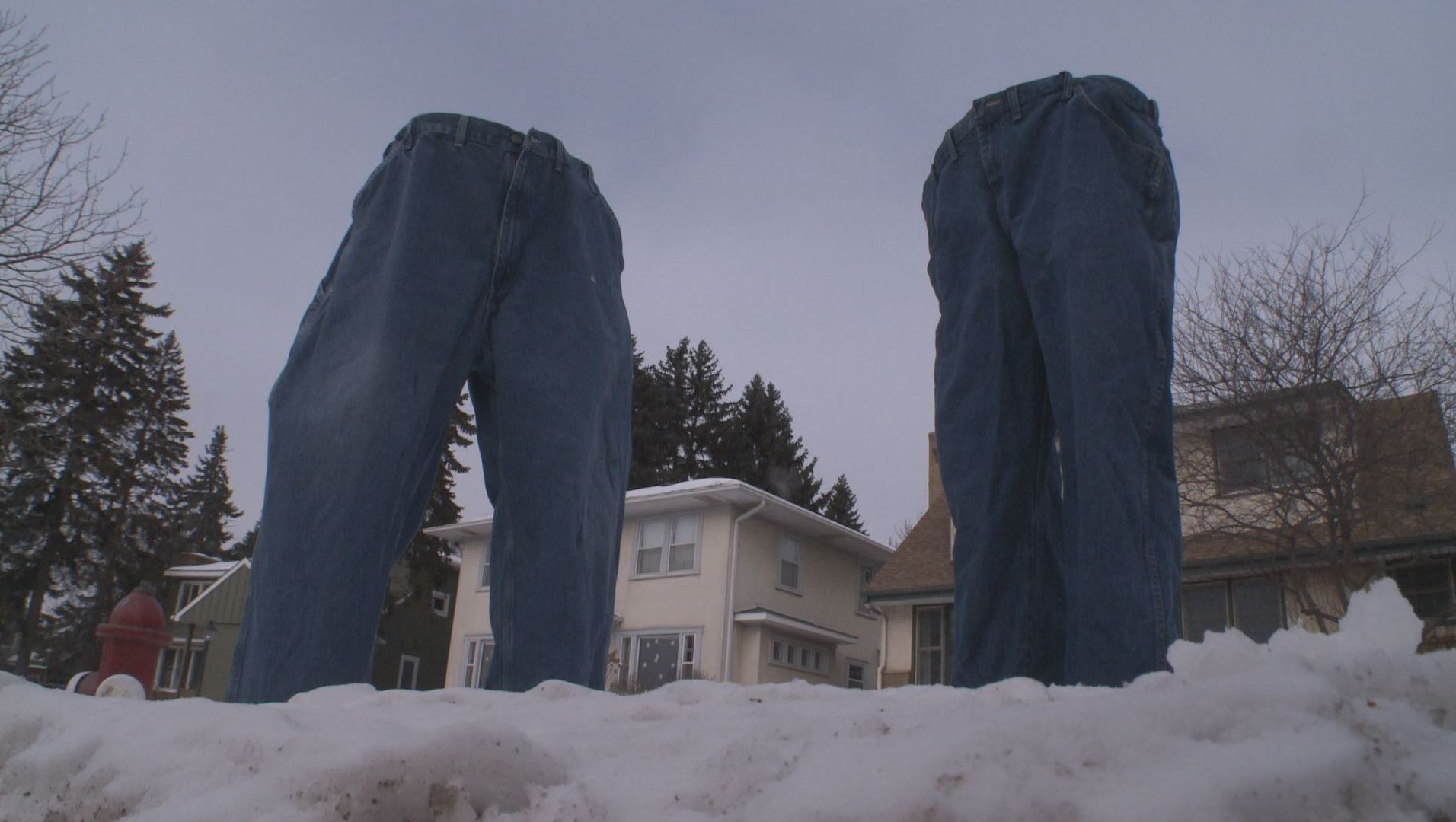 Tom Grotting froze two pairs of jeans and placed them near the road on Columbia Parkway.