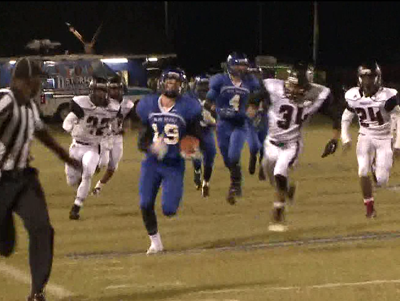 Brendan Thomas takes the ball in for the Model Blue Devils near the end of the game against the Chattoga Indians
