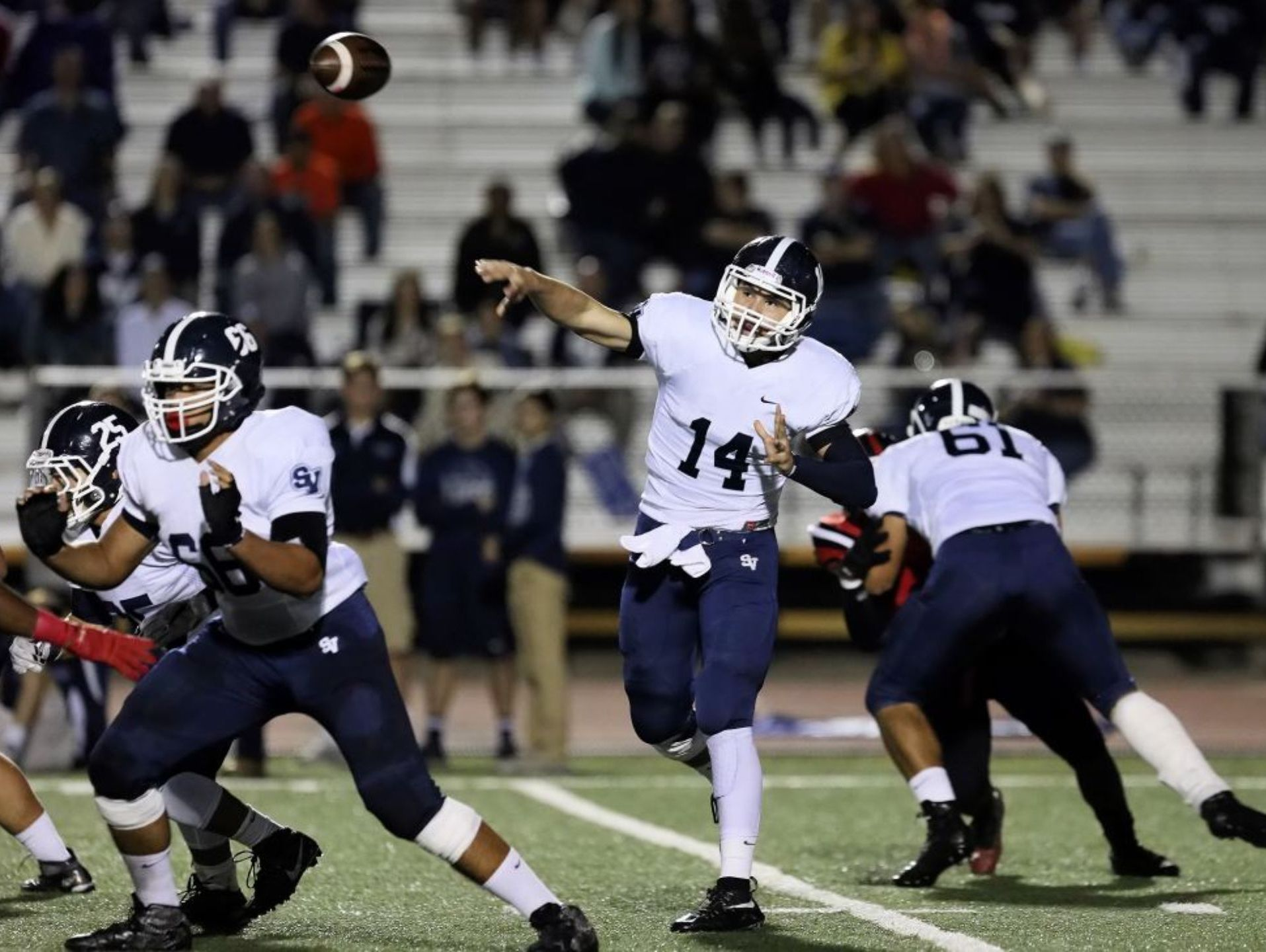Smithson Valley quarterback Josh Adkins, passing against Stevens last week, has completed 167 of 246 attempts with six interceptions for 2,556 yards and 26 touchdowns this season.
