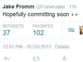 Jake Fromm tweeted hours before his official announcement to commit to the University of Alabama's football program.
