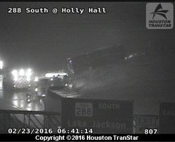 HISD school bus flips on its side in crash on 288