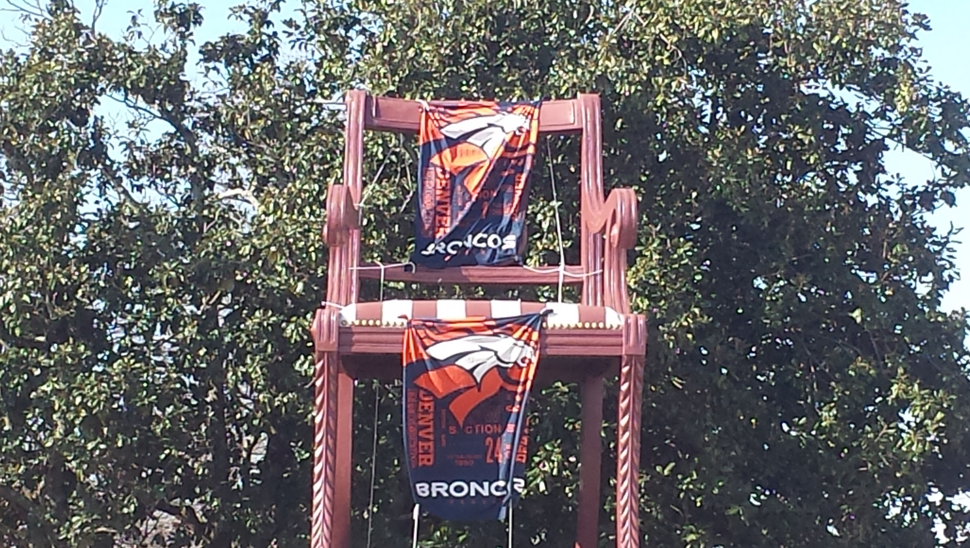 City of Thomasville keeps its word following the Panthers' loss to the Denver Broncos in Super Bowl 50. Thomasville is home of the world's largest chair. The bet was for the big chair to display Broncos banners if the Panthers lost. If the Panthers would have won, the World's Largest Rocking Chair in Penrose, Colorado would have had to be draped in Panthers gear.