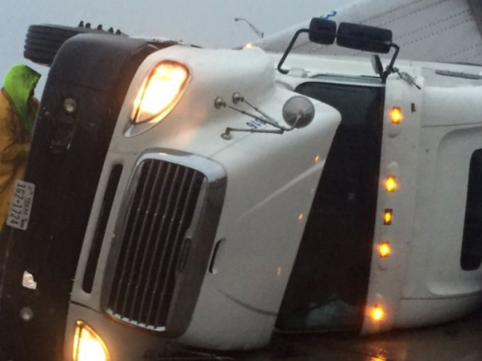 An overturned semi on southbound I-45 spurred traffic