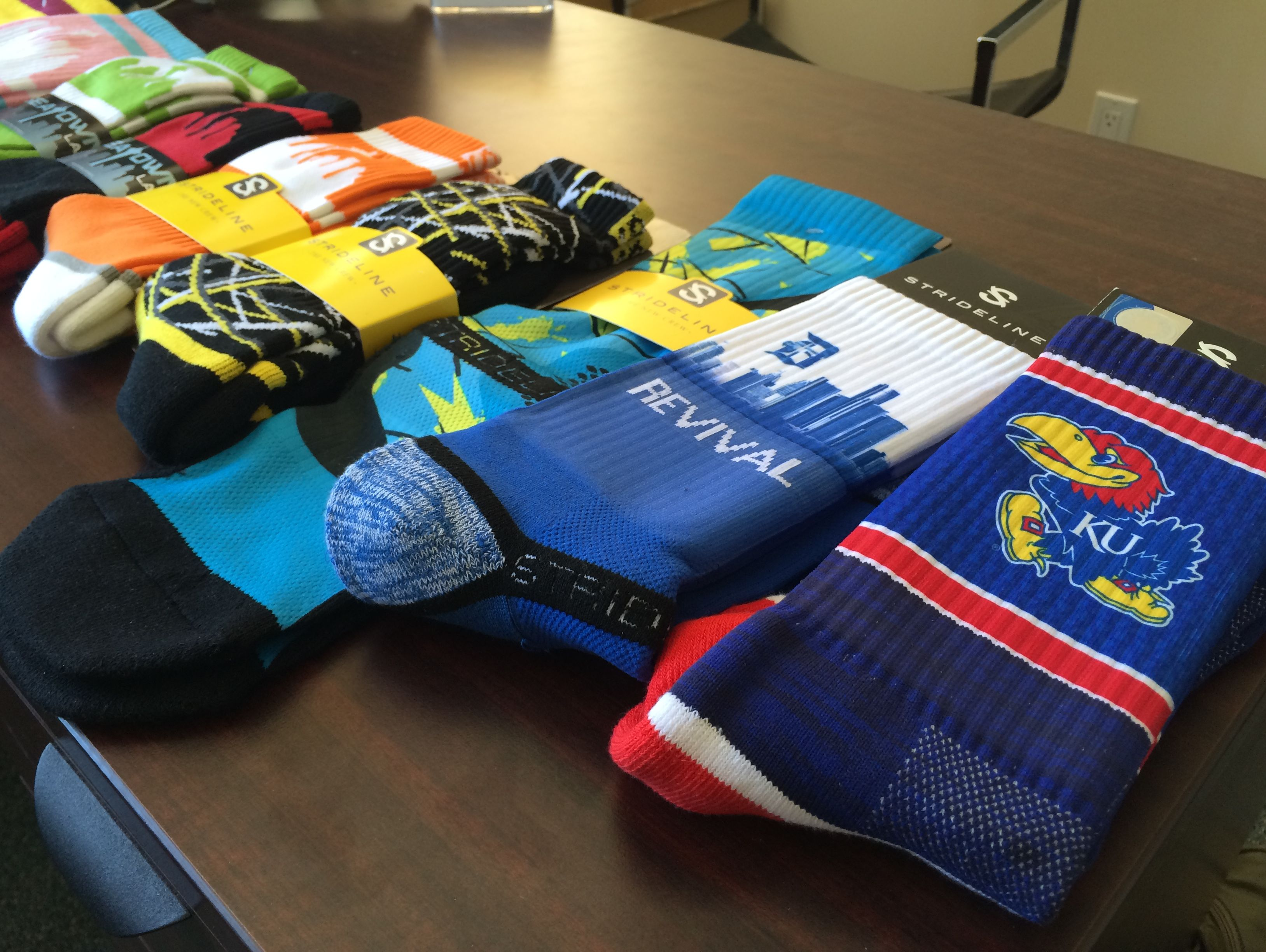 Srideline socks is expanding their line to include designs for 38 colleges in August.