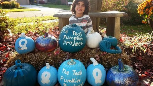 Elias Habib, 4, of Rochester, Mich., painted pumpkins teal as part of a food-allergy awareness campaign called the Teal Pumpkin Project. His family will display the pumpkin and pass out non-food treats this Halloween to children such as Elias, who has a life-threatening peanut allergy.