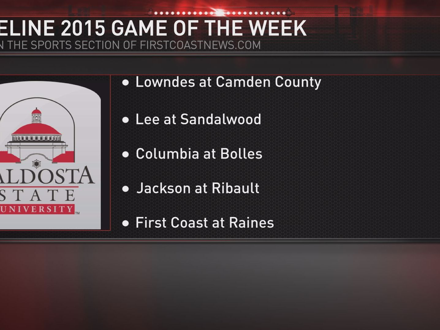 Here are this week's choices to vote on for the Sideline 2015 Game of the Week.
